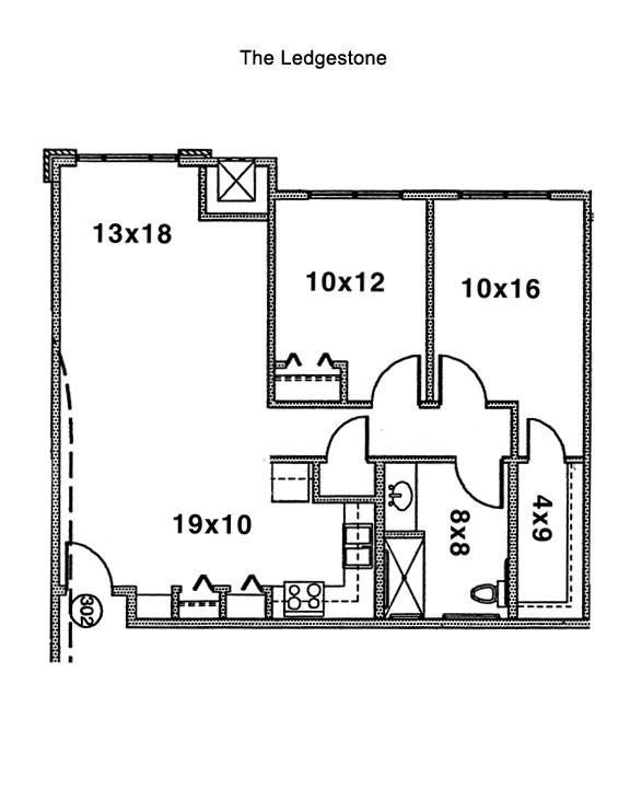 Ledgestone Floorplan, Cornerstone Senior Living Apartments, Green Island, New York