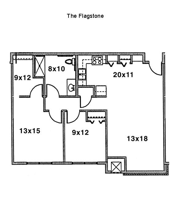 Flagstone Floorplan, Cornerstone Senior Living Apartments, Green Island, New York